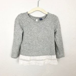 Baby Gap Gray Long Sleeve Peplum Shirt Sz 3